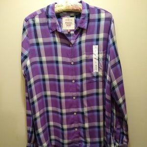 Women's SO Perfect Lavender Plaid Loose Fit Shirt